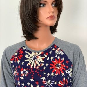 LuLuRoe Knit Top M Patriotic Fireworks Stars Hip